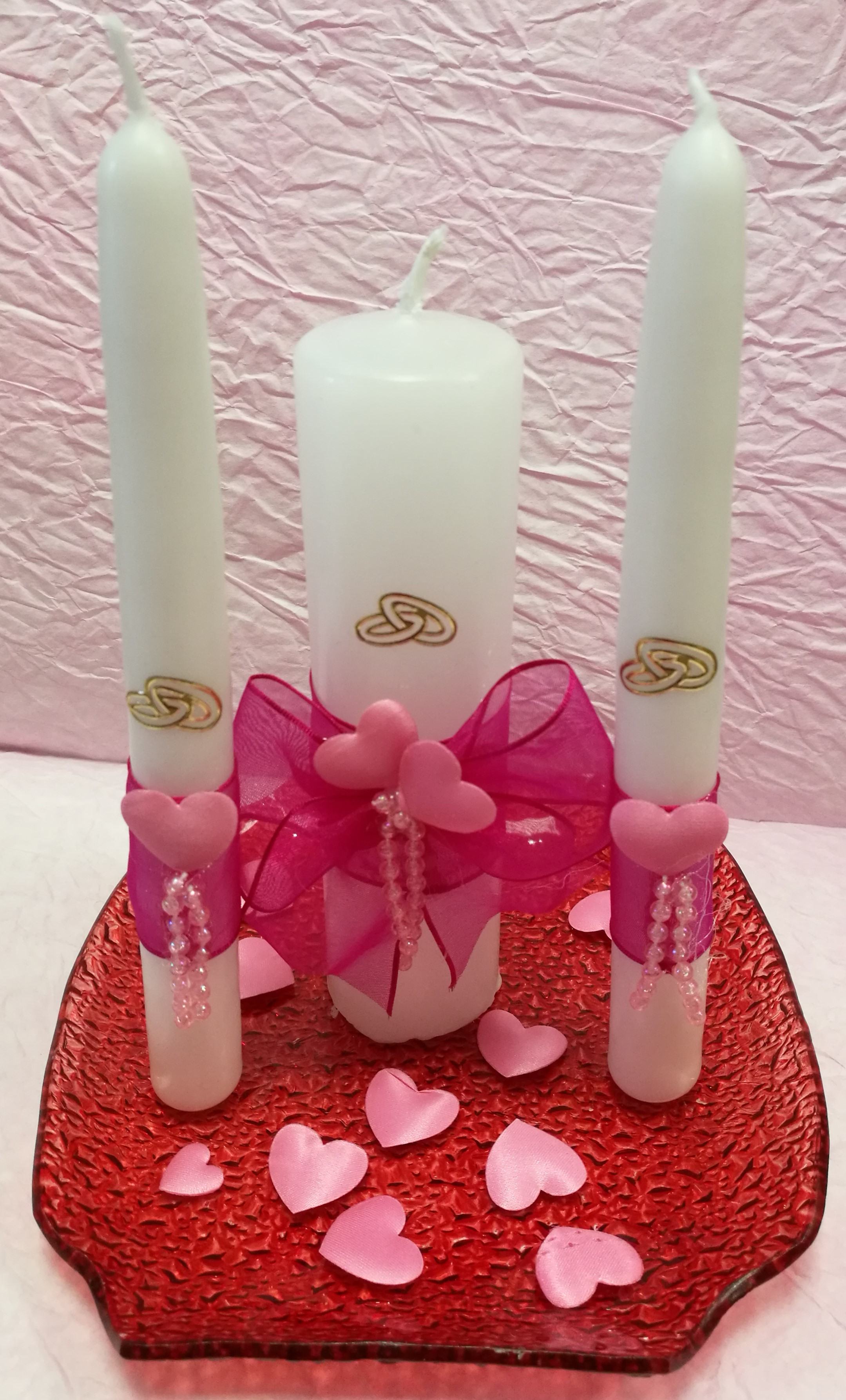 dd0a1f5eb6 Esküvői Gyertya Szett - Pink Dekorral - Tálkával/Dekorkuckó