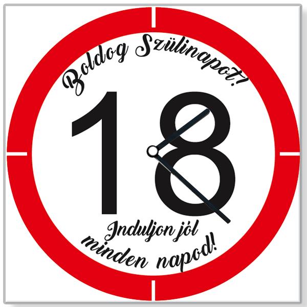 Szülinapi Falióra - Boldog 18. Születésnapot - Sebességkorlátozó Design -  Piros   Fehér Dekor 5184d1c929